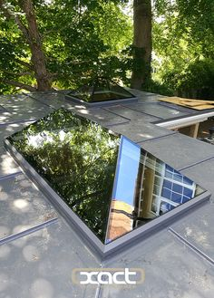 Two triple-glazed XACT Pure Glass Roof Lanterns installed on a flat roof rear extension at the Melford House Hotel, Farnborough. Roof Design, House Design, Flat Roof Skylights, Contemporary Garden Rooms, Roof Lantern, Bungalow Renovation, Roof Extension, Living Roofs, Roof Installation