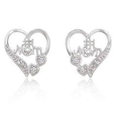 #1 Mom Heart Earrings