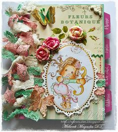 Altered note book using sweet Sagittarius Tilda from http://magnoliastamps.us/store2/ #crafts #cards #altered #book #lace