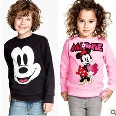 Child clothing retail 2013 new autumn and spring girls boys cartoon Minnie Mickey Long-sleeve T-shirt sweatshirt Free shipping $8.80