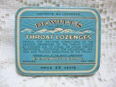DeWitt's Throat Lozenges Advertising Tin  SOLD
