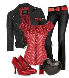 I love this combination of dots and denim, rockabilly pin up with attitude! <3