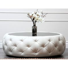 Abbyson Living Havana Round Leather Coffee Table - Overstock™ Shopping - Great Deals on Abbyson Living Coffee, Sofa & End Tables Padded Coffee Table, Leather Ottoman Coffee Table, Cool Coffee Tables, Round Coffee Table, Fabric Coffee Table, Round Tufted Ottoman, Upholstered Ottoman, Ottoman Bench, Tire Furniture