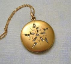 Antique Victorian Gold Filled Locket Necklace, Old Victorian Locket Necklace, Unique Locket, Gift For Her (L205)