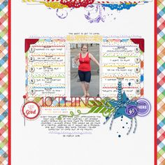 love the rainbow of colors in this #topten #scrapbook page by Trace at #designerdigitals