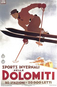 Dolomiti ski poster Manifesto pubblicitario (1935) - #Sport #invernali nelle #Dolomiti