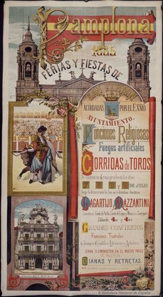 Ferias y fiestas de San Fermín. Pamplona Ayuntamiento — Dibujos, grabados y fotografías — 1885 http://bdh-rd.bne.es/viewer.vm?id=0000018815