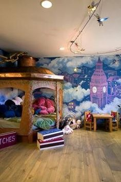 36 Best Disney Room Ideas For Your Childrens Room. Are you planning to decorate your room or your children room? If you are planning to change any decorations in your room . Peter Pan Bedroom, Peter Pan Nursery, Disney Themed Rooms, Disney Bedrooms, Casa Disney, Disney Dream, Disney House, Disney Disney, Girls Bedroom