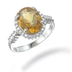 4 CT 11x9 MM Oval Shaped Citrine Ring In Sterling Silver (Available In Sizes 5 - 9) -