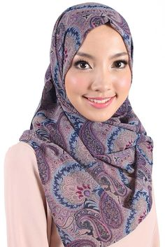 Squared Headscarf •Material: Printed Chiffon •Color: Purple/Navy Paisley •Measurements: Length: 115cm Width: 112cm •Hand wash, cold. •Made in Malaysia