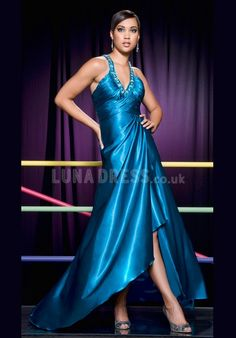 Grand A line Elastic Silk Like Satin V Neck Sleeveless Sweep Train Prom Party Dress
