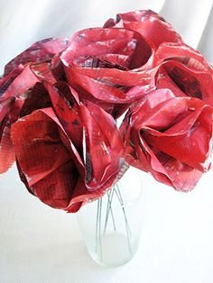 Newspaper Rose Bouquets - Mother's Day Craft