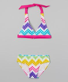 Look at this Rainbow Pixel Zigzag Bikini - Girls on #zulily today!