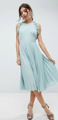 Top Dresses For Spring Mint Green Ruffled Midi Dress Ad