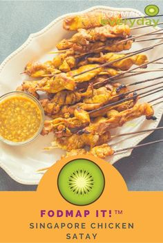 Our FODMAP IT!™ Singapore Chicken Satay is light on peanut butter but packed with flavor from fresh ginger, turmeric & vinegar. Healthy Meals For Kids, Healthy Recipes, Healthy Foods, Free Recipes, Fodmap Meal Plan, Low Fodmap, Fodmap Diet, Chicken Satay, Christopher Kimball
