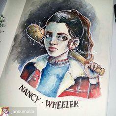 "Stranger Things. en Instagram: ""By @jansumalla - • nancy / stranger things. • #nancywheeler #strangerthings #watercolor #gouache"""
