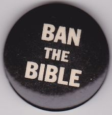 1960's Hippie Free Love BAN THE BIBLE Psychedelic Protest Badge Pinback Button