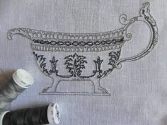 Old Style SAUCE BOAT. Machine embroidery  file design. You'll find it on my Etsy Shop https://www.etsy.com/shop/MyEmbroideryStyle