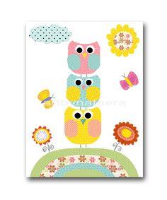 "Baby room art, Nursery wall art, Children Artwork, kids art print  8"" x 10"" Print, bird, owl, rose, yellow, blue, red, pink, decoration. $14.00, via Etsy."