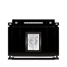 Femme Bras Levés bar with side drawers | Numbered edition, clear crystal and black ebony | Bar Lalique | Lalique