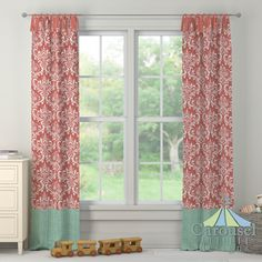Custom drapes in Coral Damask, Solid Coral, Mint Herringbone.  Created using the Drape Designer by Carousel Designs