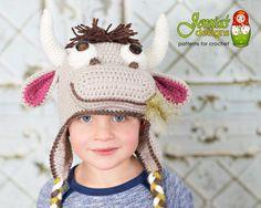 Crochet Cow Farm Animal Hat Pattern for Baby by JENIASdesigns