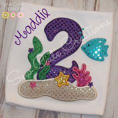 Personalized Under the Sea Ocean Birthday shirt Boutique Girls Monogram short long sleeve custom embroidered beach birthday summer