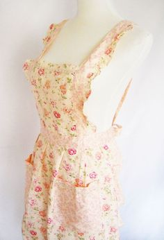 A pink and cream floral #apron
