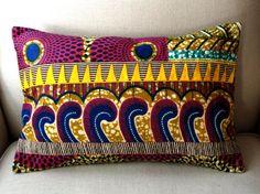 Carnival Stitch OOAK Cushion cover Genuine wax by SISTERBATIK, $55.00