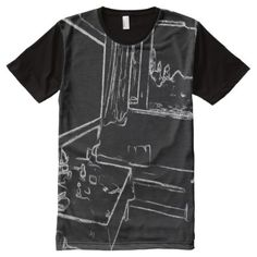 black and white drawing resting room All-Over-Print T-Shirt - tap, personalize, buy right now! Black White Art, Black And White Drawing, Types Of T Shirts, Shirt Drawing, Stylish Shirts, S Shirt, White Shirts, Men Sweater, Mens Fashion