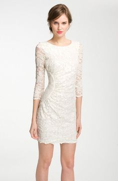 Side Ruched Lace Sheath Dress - Lyst