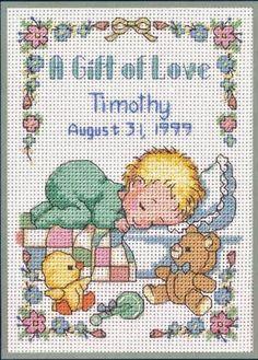 Un regalo fatto a mano, crocetta dopo crocetta, per annunciare una nascita oppure per impreziosire un fiocco o una coccarda.