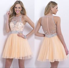 Mini Crystal Beaded Bodice Peach Cocktail Dresses 2014 Pleated Tulle Short Prom Dress