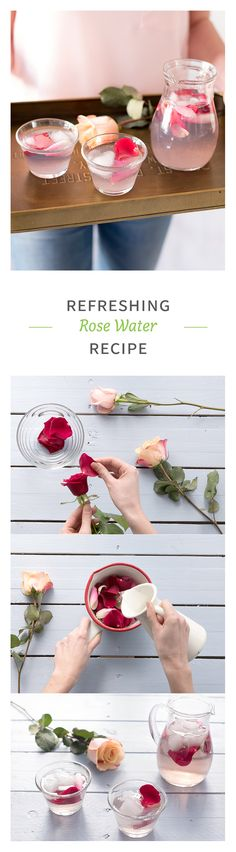 This recipe will make you feel good and beautiful! Our rose water recipe is delicious as a fresh drink, and you can also use it as a face toner! | See recipe on HelloFresh Blog #MothersDay