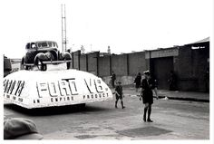 """A Ford float, which formed part of the """"Australia's March to Nationhood"""" parade on January This image was taken in Driver Avenue, Moore Park . Fleet Landing, Day Of Mourning, First Fleet, Moore Park, Sydney News, Ford V8, New Twitter, Australia Day, January"""