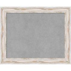 Framed Magnetic Board Choose Your Custom Size, Alexandria White Wash Wood (65 x 33-inch), Grey