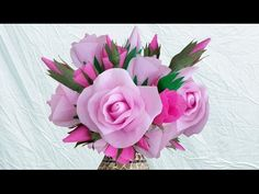 DIY Crepe Paper Roses : How to Make Beautiful Paper Rose Bouquet I DIY Home Decoration - YouTube