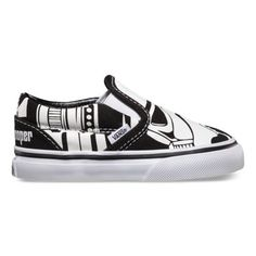Iconic forces merge in the Vans x STAR WARS collection when scenes and characters from the legendary film meet up with Vans Classic Slip-on. Featuring custom Stormtrooper graphics, the Star Wars Collection Classic Slip-on takes the low profile, durable slip-on with canvas upper, flag label and Vans Original Waffle Outsole to a galaxy far, far away!   Learn more about the Vans x Star Wars Collaboration
