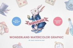 Wonderland Watercolor Graphic Set by Chelovector on @creativemarket