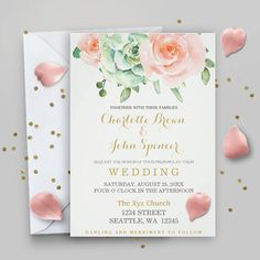 Succulent Peach Roses PRINTABLE Wedding Invitation Template, boho wedding…