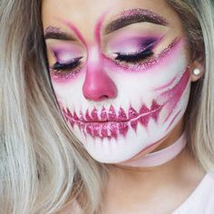 Half face Pink glitter skull is now LIVE on my youtube channel  #ThinkPink in support of breast cancer awareness month! Link in bioooo ⤴️ Product details again below 〰 #morphebrushes 35B palette on eyes & face #toofaced sketch marker in Candy pink with #nyxcosmetics Red glitter & #coastalscents glitter Ballerina #anastasiabeverlyhills waterproof creme colour Barbie Pink as pink  #smiffys white make up fx paint  #houseoflashes Knockout lashes  #rachleary #halfskull #halloweenideas