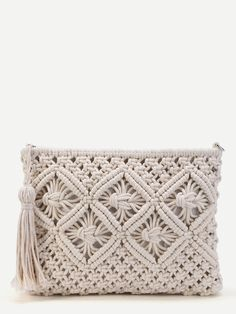 Shop Crochet Clutch Bag With Tassel online. SheIn offers Crochet Clutch Bag With… Shop Crochet Clutch Bag With Tassel online. SheIn offers Crochet Clutch Bag With Tassel & more to fit your fashionable needs. Macrame Purse, Macrame Knots, Tassel Purse, Clutch Purse, Macrame Projects, Crochet Projects, Pochette Rose, Crochet Clutch Bags, Crochet Clutch Pattern