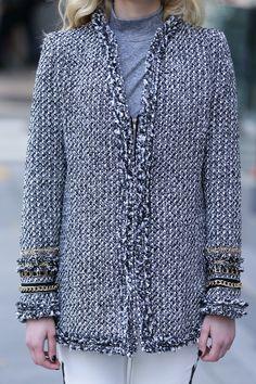 Embellished Tweed Blazer-Gray