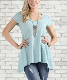 Look what I found on #zulily! Light Blue Waffle Knit Sidetail Top - Plus Too #zulilyfinds
