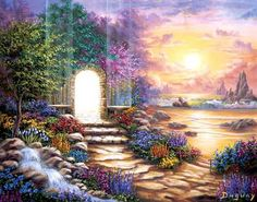 Read the comforting 'I know you are in Heaven' poem by Mary Jac, and browse through the beautiful collection of inspiring heavenly images by the visionary artist Duguay - you are sure to feel at peace when doing so. Merci Gif, Background Blog, Akiane Kramarik, Portal, Mario, 5d Diamond Painting, Visionary Art, Fantastic Art, Awesome Art