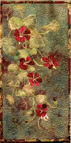 Hand painted fabric art quilt Nasturtiums by ArtQuiltsbyGretchen,
