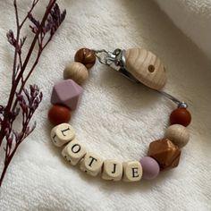 Speenkoorden met naam   Baby Jewellery Teething Necklace, Beaded Bracelets, Jewelry, Jewlery, Jewerly, Pearl Bracelets, Schmuck, Jewels, Jewelery