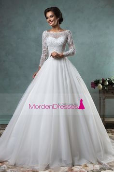 2016 Wedding Dresses Bateau  Long Sleeves Tulle With Applique A Line Open Back