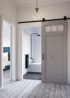 Sliding barn door design ideas for your home with mirror, window. Interior and exterior sliding barn door for your bathroom, bedroom, closet, living room. Sliding Glass Door, Doors Interior, House Design, Modern Barn, Bathrooms Remodel, House, Door Design, Home, Bathroom Barn Door