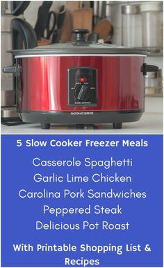 5 Slow Cooker Freezer Meals - Part 3 - 1 Hour + 1 Mess - Saving You Dinero Slow Cooker Freezer Meals, Slow Cooker Chicken, Freezer Recipes, Slow Cooker Recipes, Crockpot Recipes, Garlic Lime Chicken, Dijon Chicken, Italian Chicken, Pepper Steak